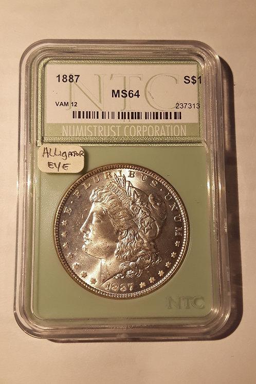 US Coins 1887 $1, 1 Dollar VAM12 Morgan Silver Dollar NTC#237313 Grade MS 64