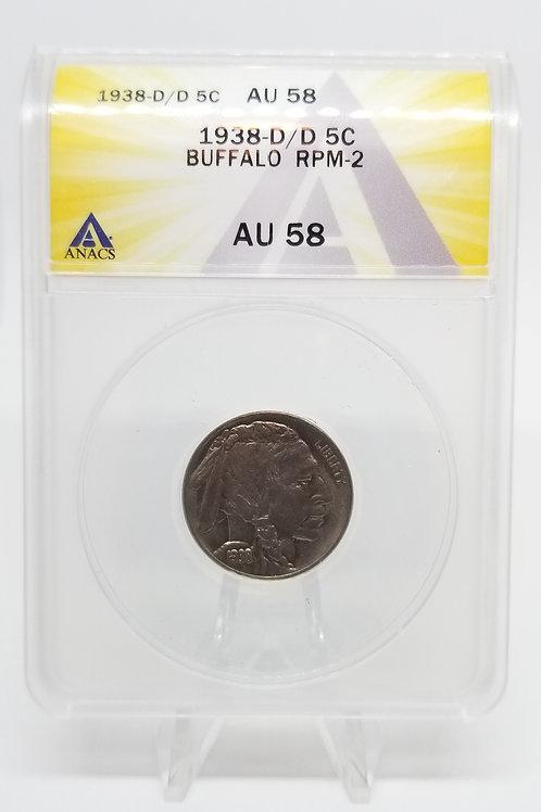 US Coins 1938-D/D 5C, 5 Cents Buffalo RPM-2 ANACS#7281116 Grade AU 58