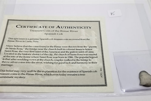 Certificate of Authenticity - Treasure Coin of the Rimac River Spanish Cob  # 5