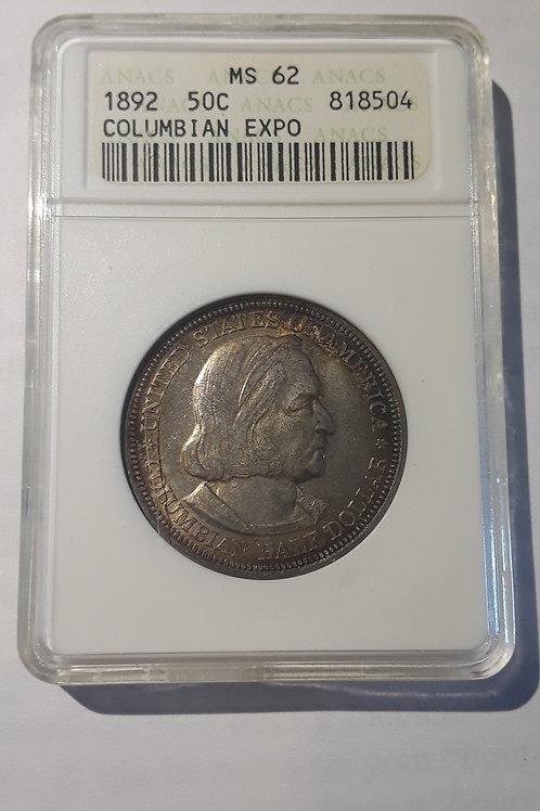 US Coins 1892 50C, 50 Cents Columbian Expo Half dollar ANACS#818504 Grade MS 62