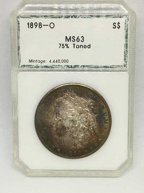 US Coins 1898-O $1, 1 Dollar 75% Toned, Morgan Silver Dollar PCI#5874097008