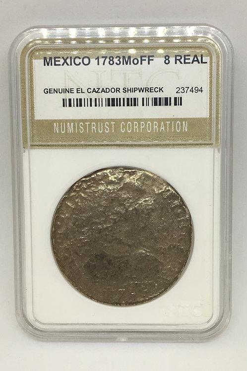 Shipwreck Coins Mexico-El Cazador 1783 Mo FF 8 Reales NTC 237494 Genuine