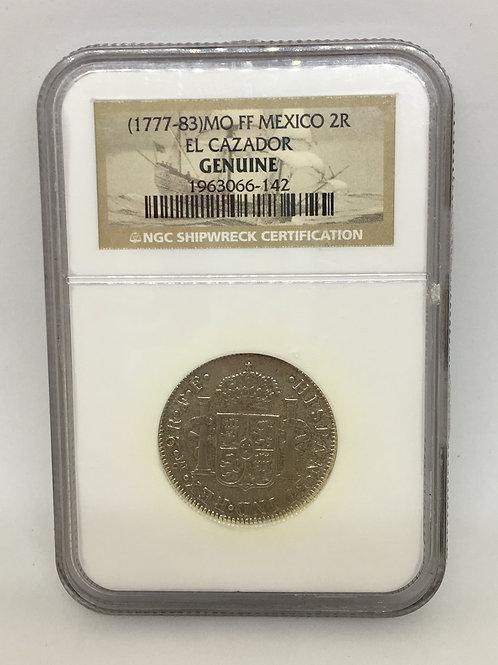 Shipwreck Coins (1777-83)MO FF MEXICO 2R EL CAZADOR NGC # 1963066-142