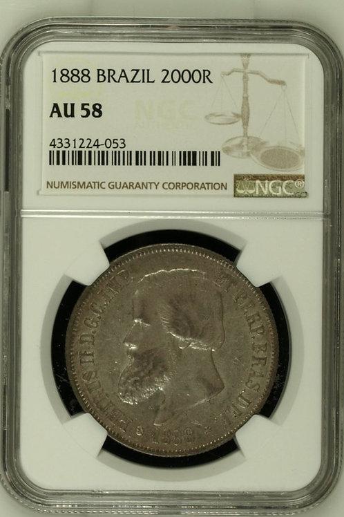 World Coins Brazil 1888 BRAZIL 2000R NGC # 4331224-053 Grade AU 58