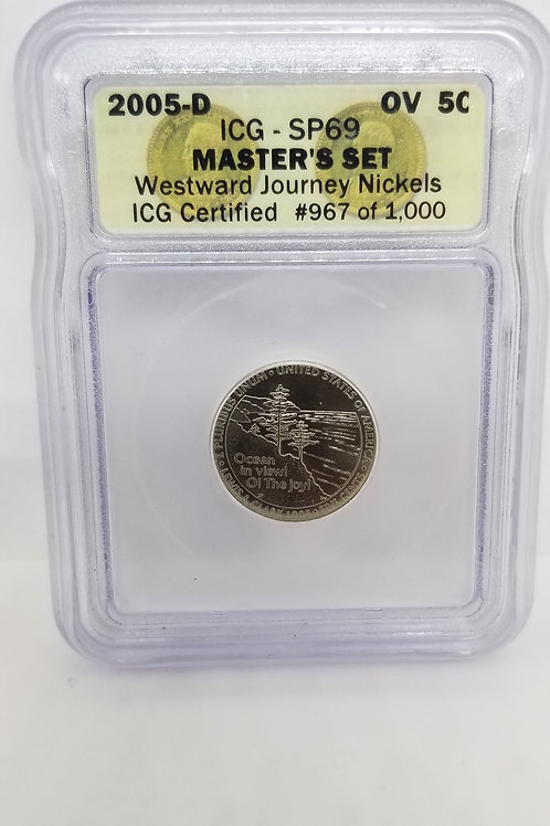 US Coins 2005-D 5C, 5 Cents OV Master's Set Westward Journey Nickels ICG#967