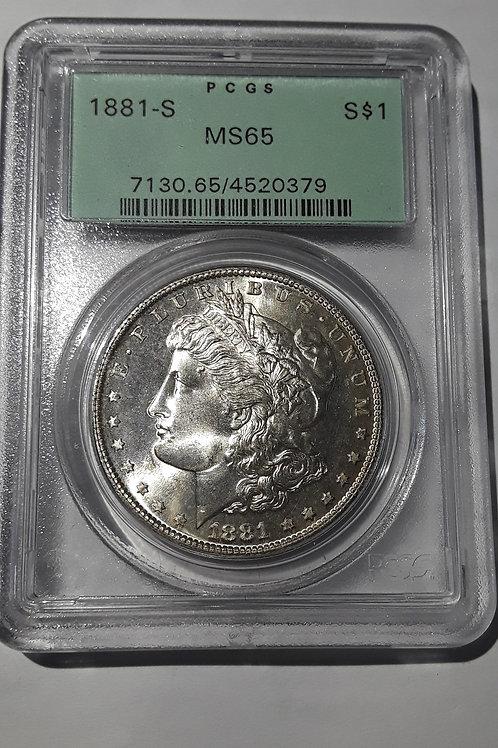 US Coins 1881-S $1, 1 Dollar Morgan Silver Dollar (OGH) PCGS#4520379 Grade MS 65