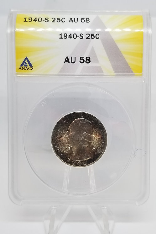 US Coins 1940-S 25C, 25 Cents Washington ANACS#6275218 Grade AU 58