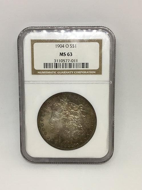 US Coins 1904-O $1, 1 Dollar Morgan Silver Dollar NGC#3110577-011 Grade MS 63