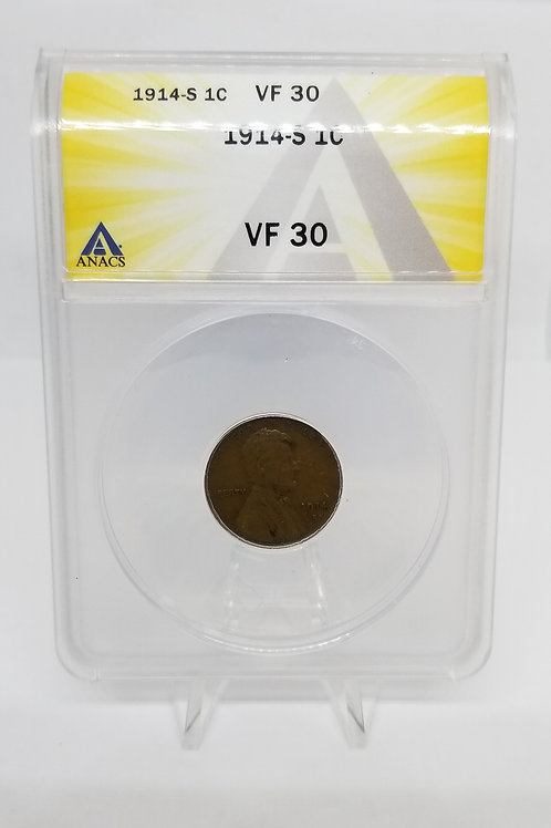US Coins 1914-S 1C, 1 Cent Lincoln Cent ANACS#6275180 Grade VF 30