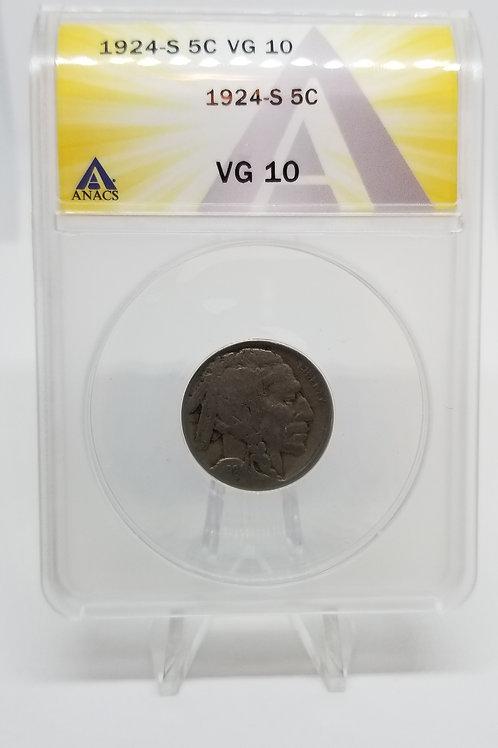 US Coins 1924-S 5C, 5 Cents Buffalo ANACS#7281102 Grade VG 10