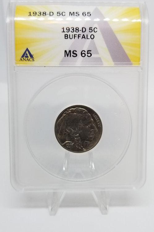 US Coins 1938-D 5C, 5 Cents Buffalo ANACS#7281113 Grade MS 65