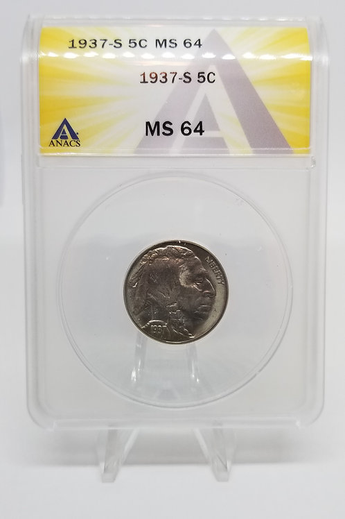 US Coins 1937-S 5C, 5 Cents Buffalo ANACS#7281112 Grade MS 64