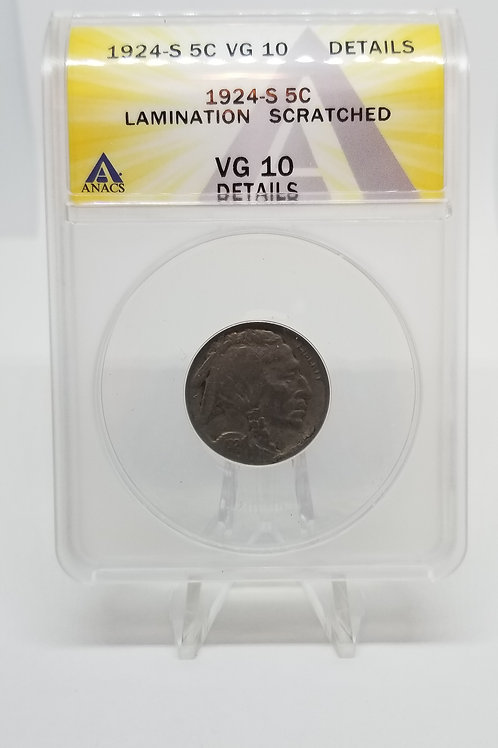 US Coins 1924-S 5C, 5 Cents Buffalo Lamination Scratched ANACS#7281101 Grade VG