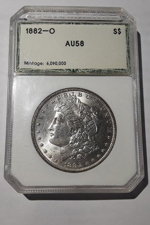US Coins 1882-O $1, 1 Dollar Morgan Silver Dollar HALLMARK#0223810011 Grade AU58