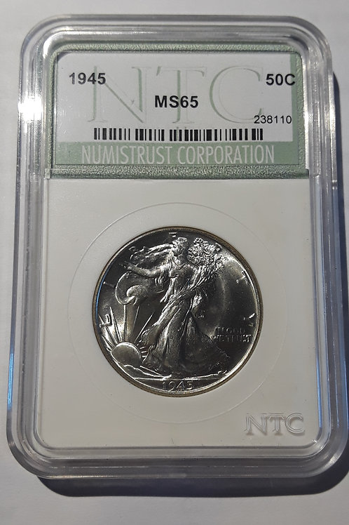 US Coins 1945 50C, 50 Cents US Walking Liberty Half Dollar NTC#238110 Grade MS65