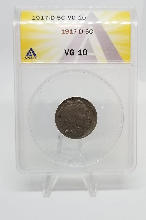 US Coins 1917-D 5C, 5 Cents Buffalo ANACS#7281098 Grade VG 10