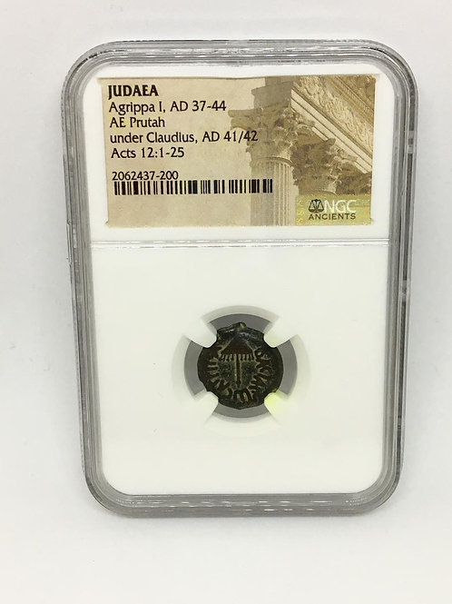 Ancient Coins Judaea Agrippa I, AD 37-44, AD 41/42 Acts 12:1-25 NGC #2062437-200