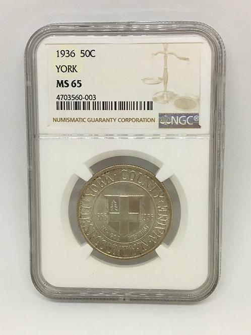 US Coins 1936 50C, 50 Cents York Half Dollar NGC#4703560-003 Grade MS 65
