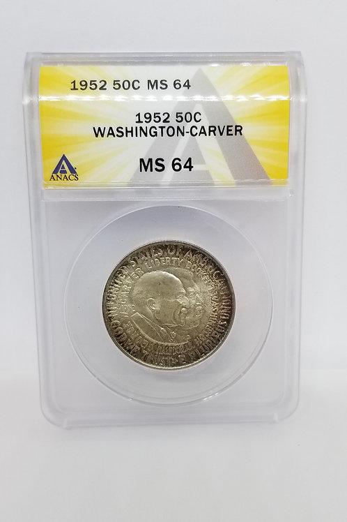 US Coins 1952 50C, 50 Cents George Washington - Carver Half Dollar ANACS#5415685