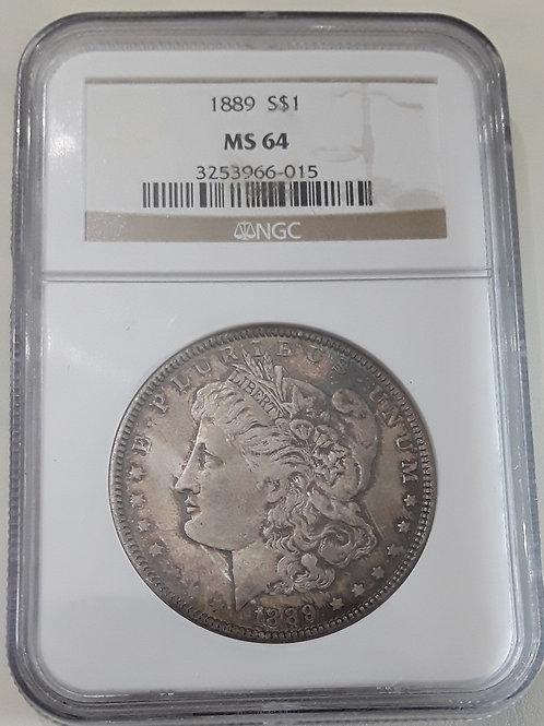 US Coins 1889-S $1, 1 Dollar Morgan Silver Dollar - toning NGC#3253966-015