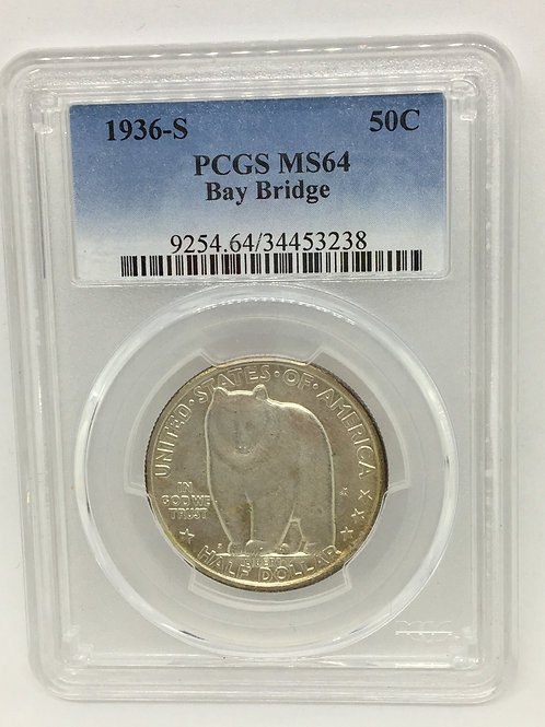 US Coins 1936 50C, 50 Cents Bay Bridge Half Dollar PCGS#34453238 Grade MS64
