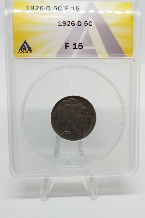 US Coins 1926-D 5C, 5 Cents Buffalo ANACS#7281104 Grade F 15
