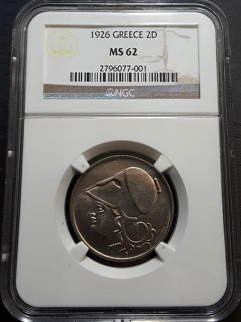World Coins Greece 1926 GREECE 2D NGC # 2796077-001 Grade MS 62