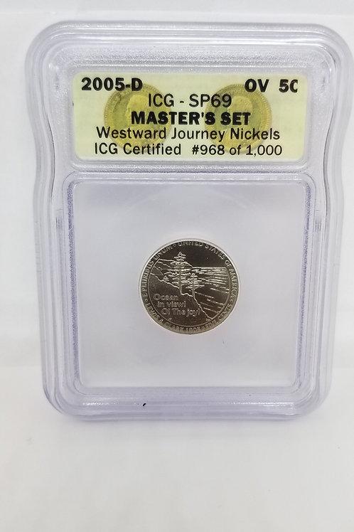 US Coins 2005-D 5C, 5 Cents OV Master's Set Westward Journey Nickels ICG#968