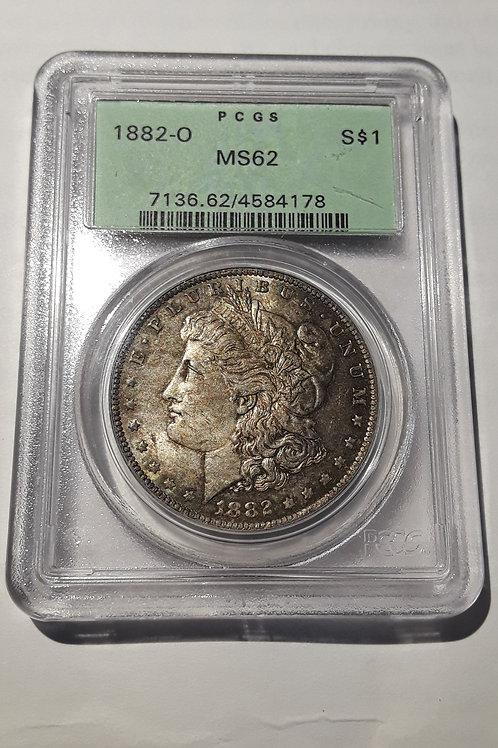 US Coins 1882-O $1, 1 Dollar Morgan Silver Dollar, Great toning PCGS#4584178