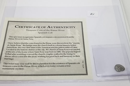 Certificate of Authenticity - Treasure Coin of the Rimac River Spanish Cob  # 2
