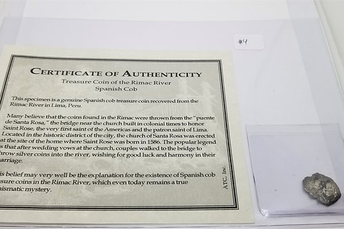 Certificate of Authenticity - Treasure Coin of the Rimac River Spanish Cob  # 4