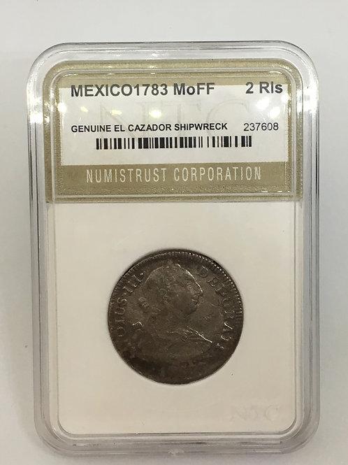 Shipwreck Coins Mexico-El Cazador 1783 Mo FF 2 RealesNTC# 237608 Genuine