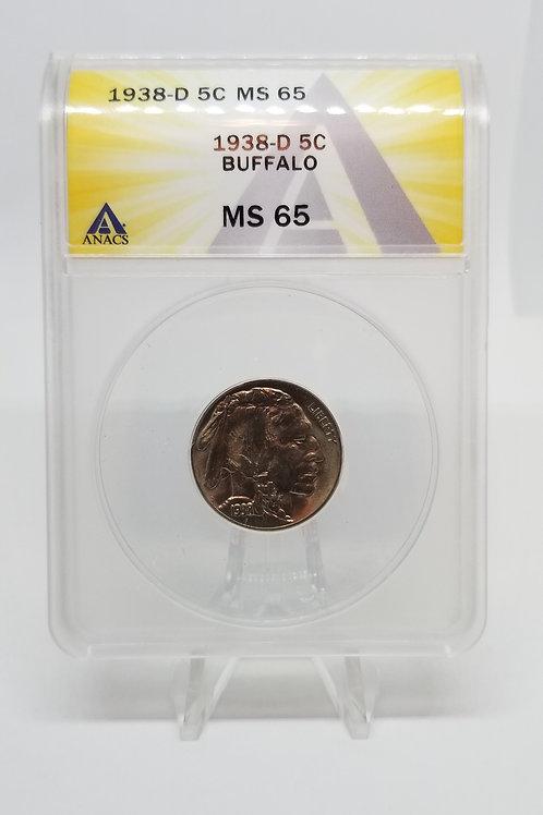 US Coins 1938-D 5C, 5 Cents Buffalo ANACS#7281115 Grade MS 65