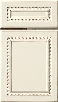 Cabinets: Eggshell with Slate Highlight on Maple Shelby Door Door Flat Panel Door
