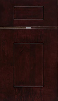Cabinets: Merlot on Maple Lancaster Door Flat Panel Door