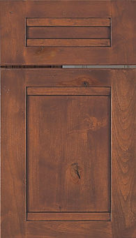 Cabinets: Sierra with Black Glaze on Rustic Alder (Knotty) Somerset Door Flat Panel Door