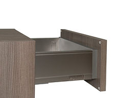 """Blum LEGRABOX Stainless Steel Drawer Box Drawer sides are 1/2"""" thick fingerprint resistant stainless steel. Drawer header, bottom & back is 5/8"""" thick simulated metal melamine, LEGRABOX drawer box is 3 1/2"""", or 7"""" tall Standard with Blum BLUMOTION full extension under-mount concealed guides; 80lb dynamic load, & self closing. Available at upgrade pricing."""