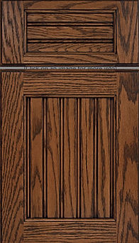 Cabinets: Autumn with Black Glaze on Red Oak Beaded Century Panel Door Flat Panel Door