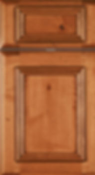 Cabinets: Caramel with Mocha Glaze on Rustic Alder (Knotty) Charleston Door Flat Panel Door