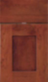 Cabinets: Red with Black Glaze on Cherry Wyatt Door Flat Panel Door