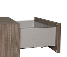 """5/8"""" Simulated Metal Drawer 5/8"""" thick drawer sides with dowel construction and 1/4"""" captive drawer bottoms. Drawer box is laminated with a simulated metal melamine. Available heights are 3"""", 4"""", & 7"""" tall. Available at Standard pricing."""