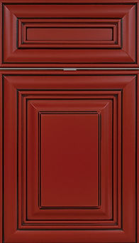 Cabinets: Brick Red with Black Glaze on Maple Bradford Door Raised Panel Door