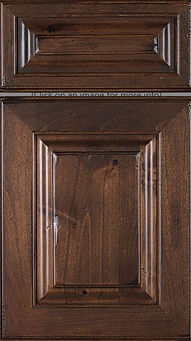 Cabinets: Barnwood - Weathered on Rustic Alder (Knotty) Asherville Door Raised Panel Door