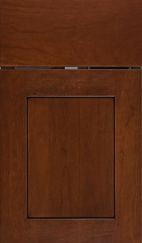Cabinets: Red with Black Glaze on Cherry New Haven Door Flat Panel Door