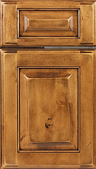 Cabinets: Acorn with Black Glaze on Rustic Maple Square Raised Panel Door Raised Panel Door