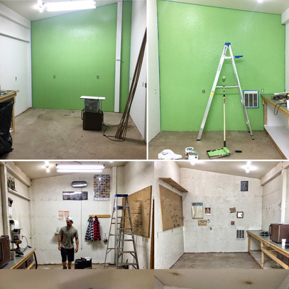 A whole new room with a fresh coat of green paint
