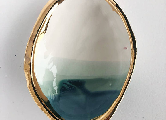 Ceramic Abalone Smudge Dish, in Ocean with 22K Gold