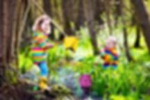 Children playing outdoors. Preschool kid