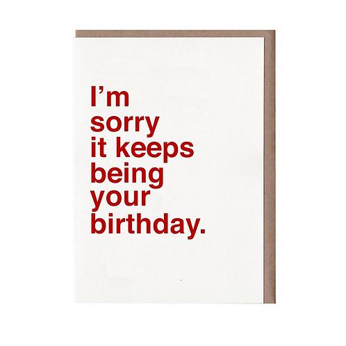 SORRY BIRTHDAY GREETING CARD