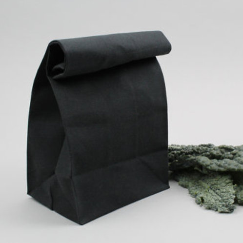 BLACK WAXED LUNCH BAG